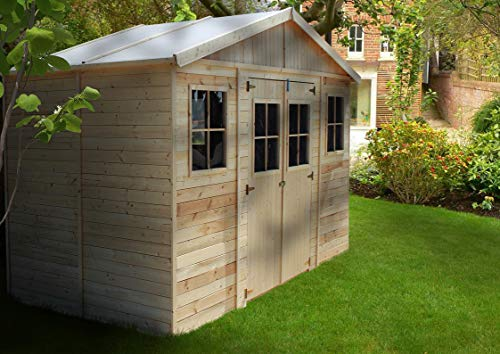 TIMBELA M332 Blockbohlen Gartenhaus aus Holz - Kiefer/Fichte Chalet- 418x220 cm