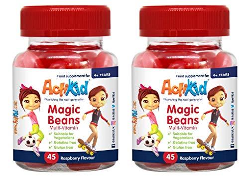 Deal of The Day 2x ActiKid Magic Beans Multi-Vitamin 45 Raspberry Flavour, Gelatin Free, multivitamin for Children