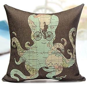Chenxi tienda lino y algodón Animal pulpo mapa casa sofá cojín funda de almohada