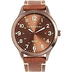 Tokyobay T227-BR Herren Edelstahl Mason Braun Lederband Braun Dial Watch