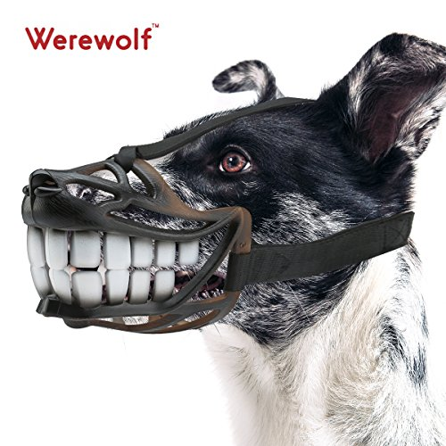 Maulkorb Hunde Smiling Große Zähne Design Bequeme Flexiblen Material Für Kleine Hunde und Mittelgroße Hunde (L, Lustige Zähne)