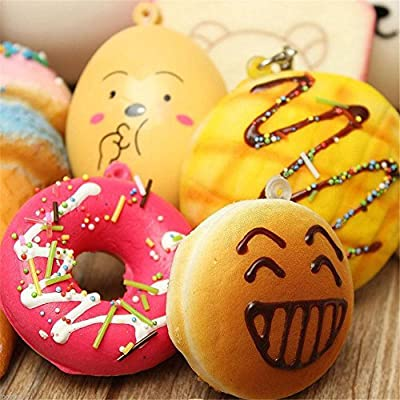 10Pcs/Pack Kawaii Squishies Toy Mini Soft Squishy Cake Bread Donuts Pineapple Bread Toasts Cream Scented Squeeze Stress Relief Toy Children Kids Pretend Food Toys Set