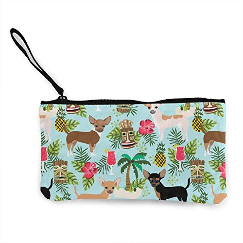 TTmom Damen Leinwand Geldbörse Portemonnaie Geldbeutel, Chihuahua Dog Pineapple Wallets for Women Card Holder Zipper Purse Phone Clutch Wallet Wristlet with Wrist Strap -