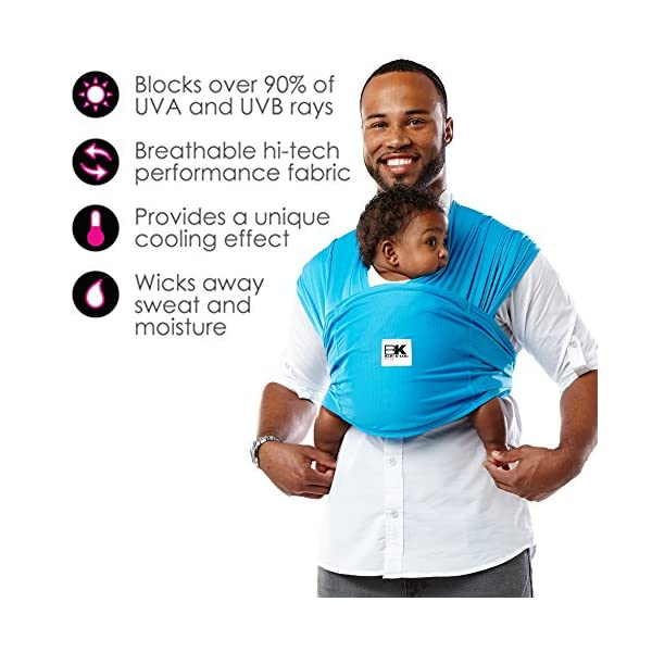 Baby K'tan Carrier (X-Large, Ocean Blue Active) Baby Ktan Easy to use and put on: NO WRAPPING INVOLVED.  6 positions to conveniently carry baby & toddlers from 8 lbs to 35 lbs Hi-tech fabric blocks over 90% of UVA & UVB rays Unique HYBRID double-loop design holds baby securely and evenly distributes weight across back and both shoulders. Washer & dryer safe 2