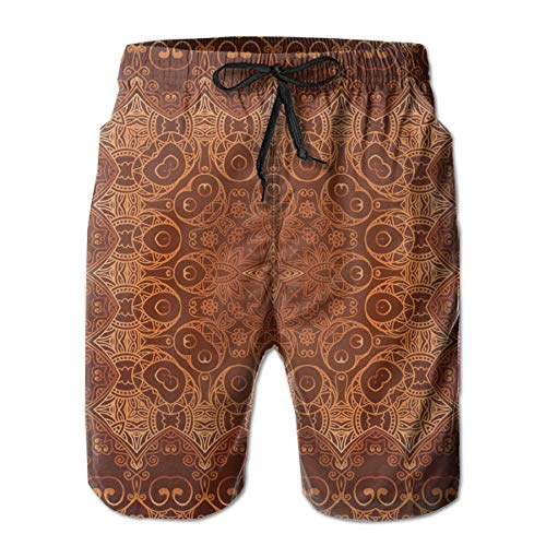 jiger Men Swim Trunks Beach Shorts,Vintage Lacy Persian Arabic Pattern from Ottoman Empire Palace Carpet Style Art,Quick Dry 3D Printed Drawstring Casual Summer Surfing Board Shorts L -