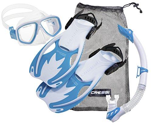 cressi Kinder-Tauchset Schnorchelset ROCKS DELUXE (Tauchmaske, Schnorchel, Flossen & Netzbeutel) - White/Light-Blue - L/XL - 34-38
