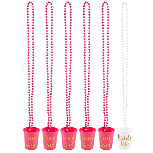 (Halskette mit Brautgläsern, Kunststoff, perfekt für Junggesellinnenabschied, Hot Pink und Weiß, 76,2 cm lang, 6 Stück)