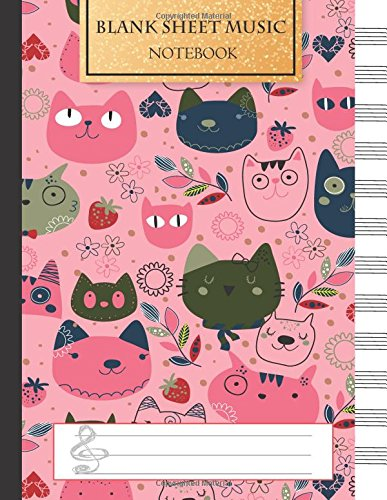Blank Music Sheet Notebook: Music Manuscript Paper, Staff Paper, Music Notebook 12 Staves, 8.5 x 11, A4, 100 pages, Pink Cute Cat Journal: Volume 1 (Music Composition Books)