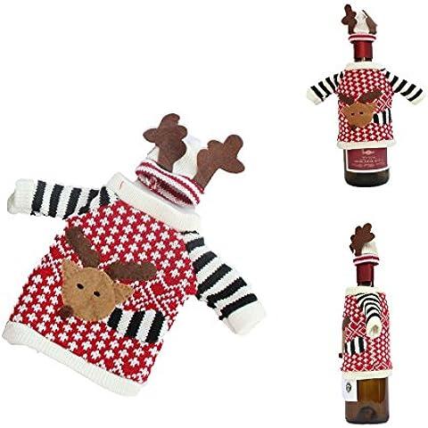 jecxep Knit maglione Natale Alce Bottiglia di vino per vino, bottiglia di champagne festa di Natale Xmas Decor Dress - Vino Di Natale Etichetta