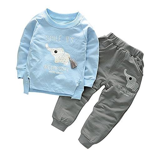 Loveble Automne / Printemps Filles Garçons Dessin Animé Elephant Impression Pullover Sweat Top + Pantalon Set Age 1-5 ans