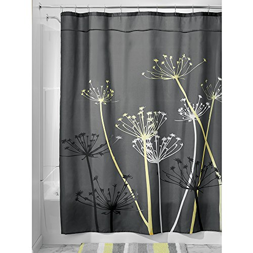 Hotel Fabric Duschvorhang (InterDesign Distel Duschvorhang, 180 x 200 cm, Grau / Gelb, 1 Stück, Gray and Yellow, 72-inch by 84-inch)