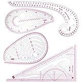 XDLink - Set di 4 righelli da cucito curvi in plastica morbida, scritte chiare per creare linee e cartamodelli