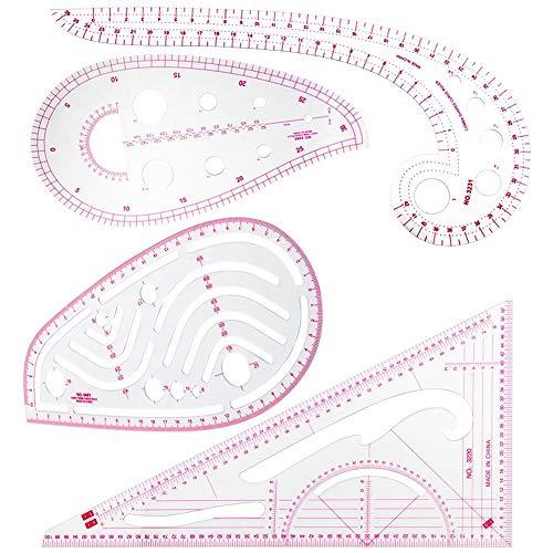 SINBLUE - Regla métrica de 4 estilos para coser curva francesa - Medida de plástico a la moda, juego de reglas para costura, costura, costura, patrón