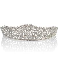 Topwedding Tiara de boda Rhinestone Crystal Crown, plata, 58