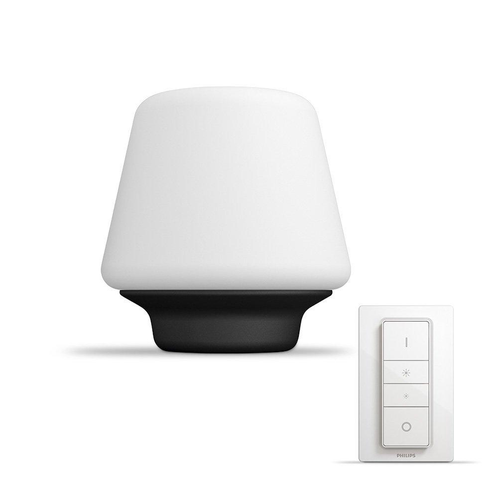 Philips Hue WellnessLampe de Table Noire White Ambiance E27 9,5W [Interrupteur avec Variateur Inclus], Lampe Connectée – Lumière Led Blanche Naturelle – Compatible avec Apple Homekit, Alexa