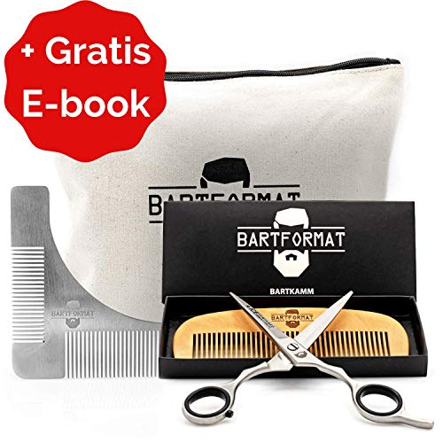 """Bartpflege Set\""""KURZMACHER\"""" von BARTFORMAT - Bartschere (16 cm) Edelstahl matt + Bartkamm (13 cm) 100{88e79a95c04ad265f6d7f91c68fa1f9add7908a68870ed97d38edf38beefc7aa} Birnbaumholz - sehr scharfe Schere für den Bart, mit herausnehmbaren Fingerverkleinerern"""