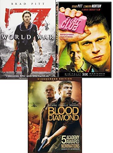 Diamond Z Brad Pitt Fight Club & World War Z + Blood Diamond Leonardo DiCaprio DVD Movie Action Triple Pack