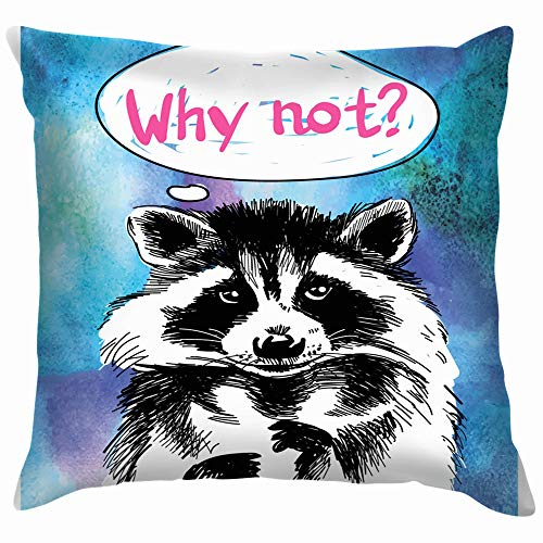 beautiful& Why Stylish Print Postcard Raccoon Cute Animals Wildlife Adventure Cotton Linen Home Decorative Throw Pillow Case Cushion Cover for Sofa Couch 18X18 Inch