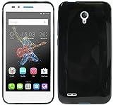 ENERGMiX TPU SchutzHülle für Alcatel One Touch Go Play (7048X) Silikon Hülle Bumper Schutz Cover Case in Schwarz