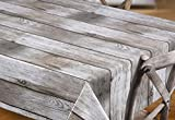 Beautex Holz beige Wachstuch Tischdecke glatt abwischbar Garten Tischdecke RUND OVAL ECKIG, Größe wählbar (Eckig 140x100 cm) - 2