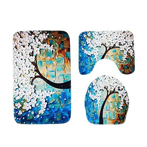 XNNSH Badematte Set 3 teilig, Polyester Rutschfeste Badvorleger Bad teppiche WC-Vorleger Toilettensitz-Bezug Waschbär Bath Mat für Badezimmer, Radvorleger/U-förmige Rug/WC-Abdeckung,Sheet,B