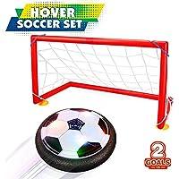 Juguetes para Niños 5-10 años, Joy-Jam Hover Ball Goal Set Air Soccer Fútbol Disco Electric Soccer con 2 Puertas que se Ciernen Fútbol de Entrenamiento con Luces LED Negro & Puertas