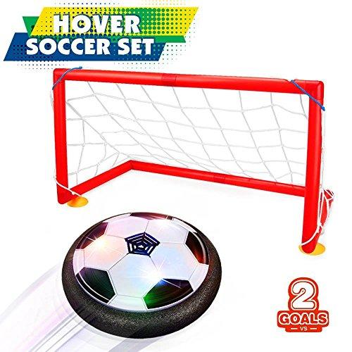 Giocattoli del Ragazzo 5-10 anni, Joy-Jam Hover Ball Goal Set Air Soccer Calcio Disco Electric Soccer con 2 Porte Hovering Training Football con luci a LED Nero & Porte