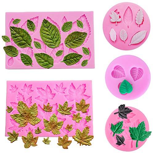 Simuer Blätter Silikonform Schokolade Süßigkeiten Form 3D Backform Kuchen Dekorieren Werkzeuge DIY Silikon Backen Fondant Formen (Blütenblatt) 5 Pack -