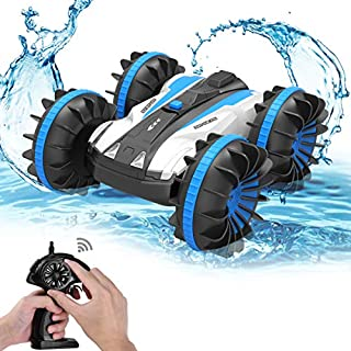 allcaca MTALR2B1 Amphibious Waterproof Remote Control Car 2.4Ghz 4WD All Terrain RC Truck, Double-Side 360 Degree Spins, 1/18 Scale Toy for Kids, Blue