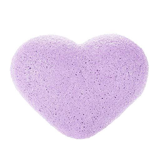 Esponja Para El Rostro Konjac, Zerone 7 Colores Esponja Exfoliante Facial Y Corporal En Forma De Corazón, 100% Húmeda(03# Lavanda Púrpura)