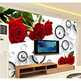 BIZHIGE Romantique Fleur Rouge Rose Et Cercle Papillon Papel Murale 3D Murale pour TV Fond Papier Peint Chambre 3D Mur Photo Murales,300 X 250Cm (9.8X8.2 Ft) - Can Be Customized