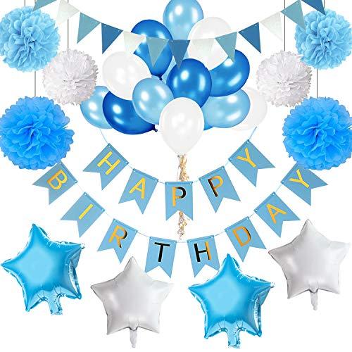 VSTON Bandera de Feliz cumpleaños para niños, Cumpleaños Globos Azul Blanco Paquetes de decoración de Fiestas para niños Hombres Adultos con Pompones Flores Tejido Papel de Aluminio Globos 42 Piezas