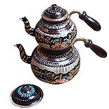 4 tlg. Großes Traditionelles Erzincan Kupfer Teekannen Set - Von Hand bemalt und verziert