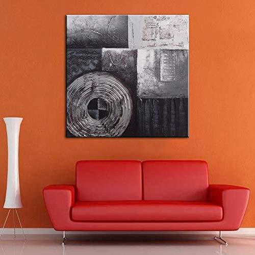 YEJHUSG Moderne Malerei Hand Bemalt Abstrakten Schwarz und Weiß Ölgemälde Leinwand Kunst Wandbild Bild Decals -