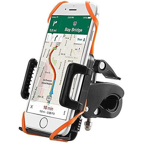 Supporto Bici Smartphone TaoTronics Porta Telefono Bici, Supporto Manubrio Universale Bici Moto per Bicicletta Ciclismo, GPS e altri Dispositivi Elettronici (Pulsante di Rilascio Automatico, Rotabile a 360 gradi, 2 Cinturini in Gomma Black/Orange)