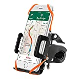 Supporto Bici Smartphone TaoTronics Porta Cellulare Bici, Supporto Manubrio Universale Bici Moto per Bicicletta Ciclismo, GPS e altri Dispositivi Elettronici (Pulsante di Rilascio Automatico, Rotabile a 360 gradi, 2 Cinturini in Gomma Black / Orange)