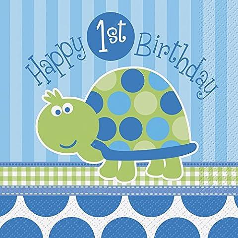 Unique Party - 40442 - Paquet de 16 Serviettes en Papier 1er Anniversaire Tortue - Bleu