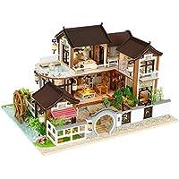 DIY Dollhouse Arquitectura antigua Rompecabezas de madera Miniatura Casa de muñecas Muebles creativos Regalo de artesanía