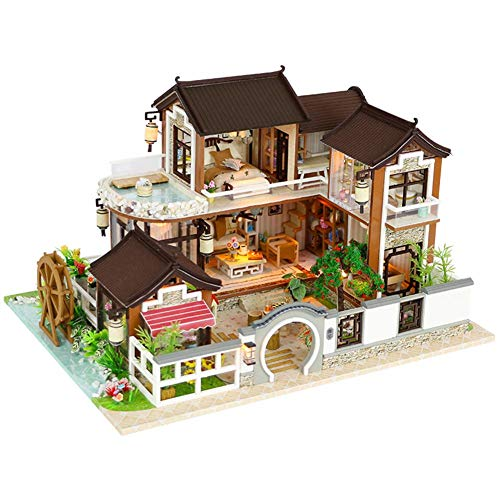 s DIY House Puppenhaus mit Licht Bausatz Holz Modell Set Puppenhaus kit DIY Dollhouse Ancient Architektur ohne Staubschutz Miniatur Kreatives Geburtstags weihnachts geschenk ()