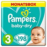 Pampers Baby-Dry Windeln, Gr. 3, 6-10kg, Monatsbox, 1er Pack (1 x 198 Stück)