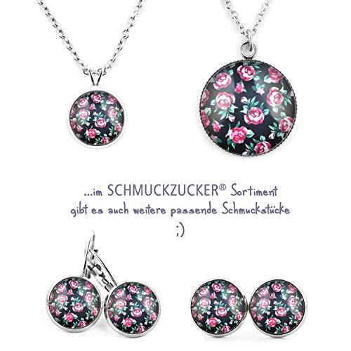 """SCHMUCKZUCKER Damen Ohrstecker """"Vintage Rosen"""" Modeschmuck Ohrringe silber-farben schwarz 14mm - 5"""