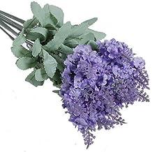 1x 10têtes artificielles bouquets de fleur de lavande en soie pour mariage Home Party Decor (Violet clair)