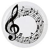 SANTEX 70458-1, Sachet de 10 assiettes Clé de Sol musique, blanc