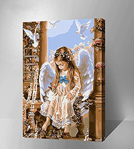 Unisexs Kunstwerk DIY Hand Ölgemälde-Malen nach Zahlen Leinwand Kit 40 * 50 für Weihnachtsgeschenk(Angel) (Nächste Diy-shop)