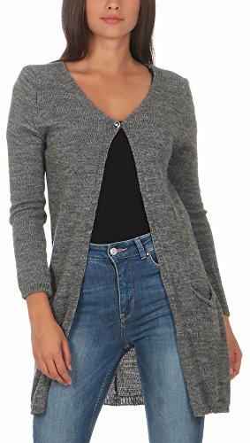 malito Damen lange Strickjacke | Cardigan im Grobstrick Look | Weste mit Wolle | Mohair – Jacke – Mantel 7025 (grau)