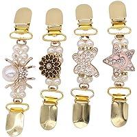 Fenical Clip Maglione Clip Cardigan Fermagli Camicia con Cristalli e Perla 4 Pezzi (Oro)