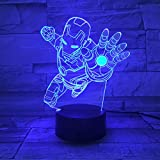 Illusion Lampe Nachtlicht Dragon Ball Super Saiyan Gott Goku Actionfiguren 3D Illusion Tischlampe 7 Farbwechsel Nachtlicht Jungen Kind Kinder Baby Geschenke, C