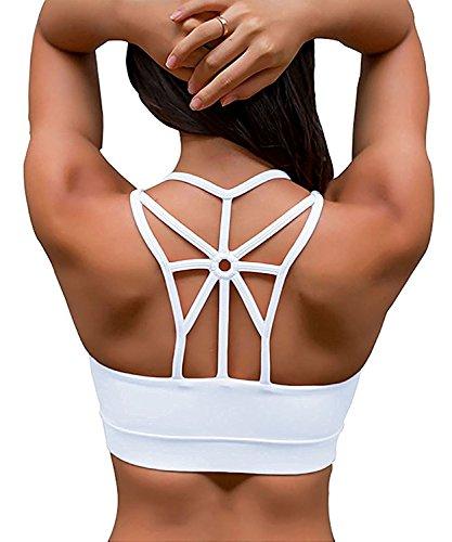 YIANNA Damen Sport BH Gepolstert Elastizität Bustier Yoga BH ohne Bügel Comfort Atmungsaktiv Sports Bra Top Weiß,UK-YA-BRA139-White-L (White Womens Crop Top)