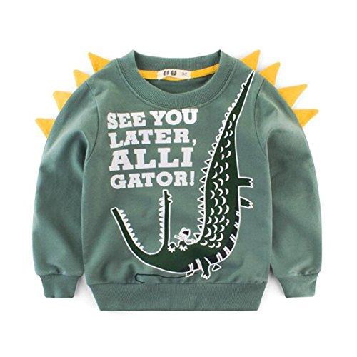 zooarts für 2–7Jahre Kinder Jungen Mädchen Alligator Print Jumper Tops Lange Ärmel Baumwolle Pullover Shirt Strampler Outfit Winter Kleidung, Baumwollmischung, dunkelgrün, 140 (7T) (Ärmel Alligator Lange)