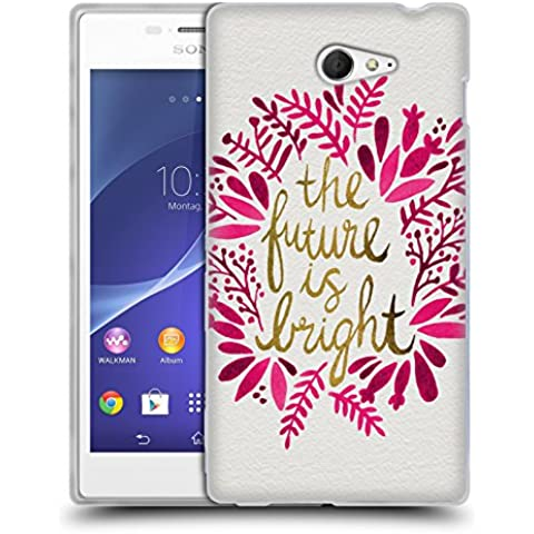 Official Cat Coquillette Future is Bright Pink Quotes Typography 1 Soft Gel Case for Sony Xperia M2